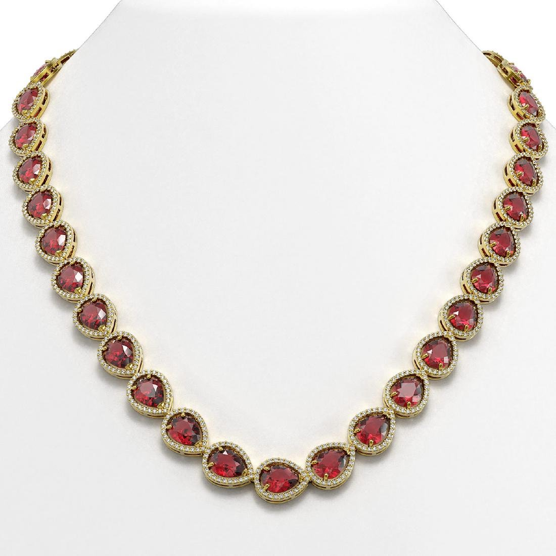 41.6 CTW Tourmaline & Diamond Halo Necklace 10K Yellow