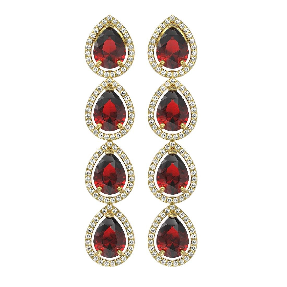 9.25 CTW Garnet & Diamond Halo Earrings 10K Yellow Gold