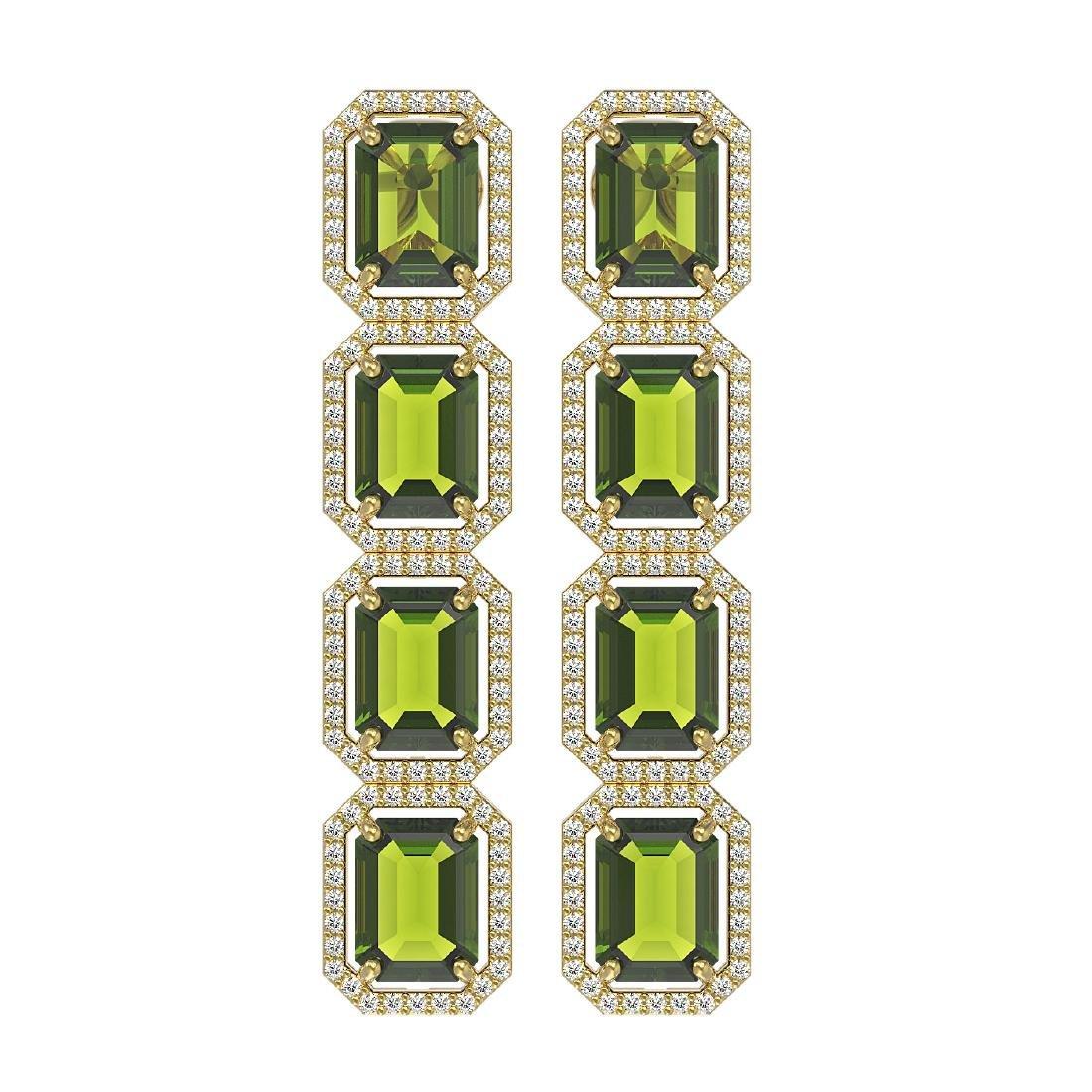 19.44 CTW Tourmaline & Diamond Halo Earrings 10K Yellow