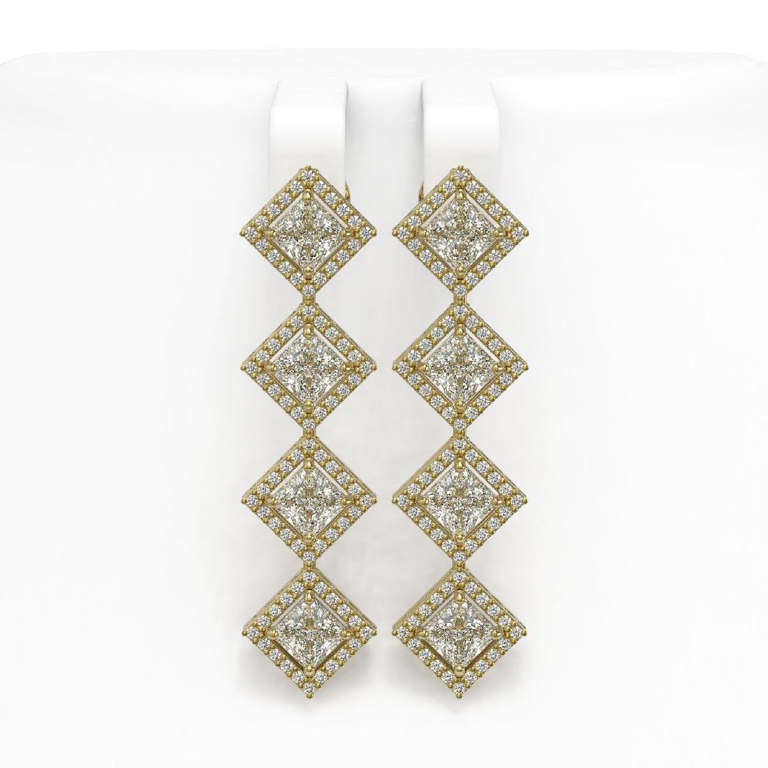 5.92 CTW Princess Cut Diamond Designer Earrings 18K