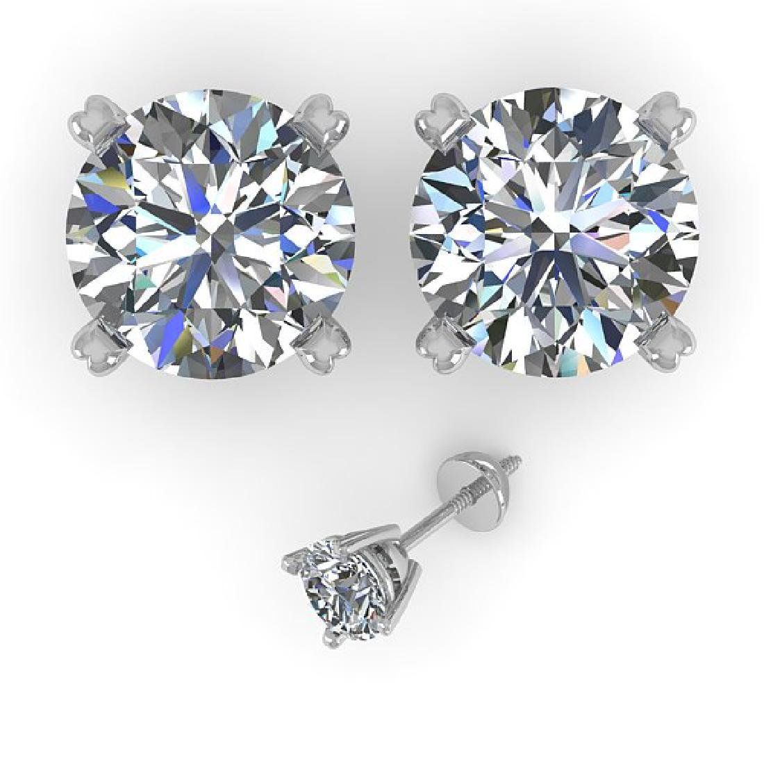 4 CTW Certified VS/SI Diamond Stud Earrings 18K White - 2