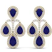 2923 CTW Royalty Sapphire  VS Diamond Earrings 18K