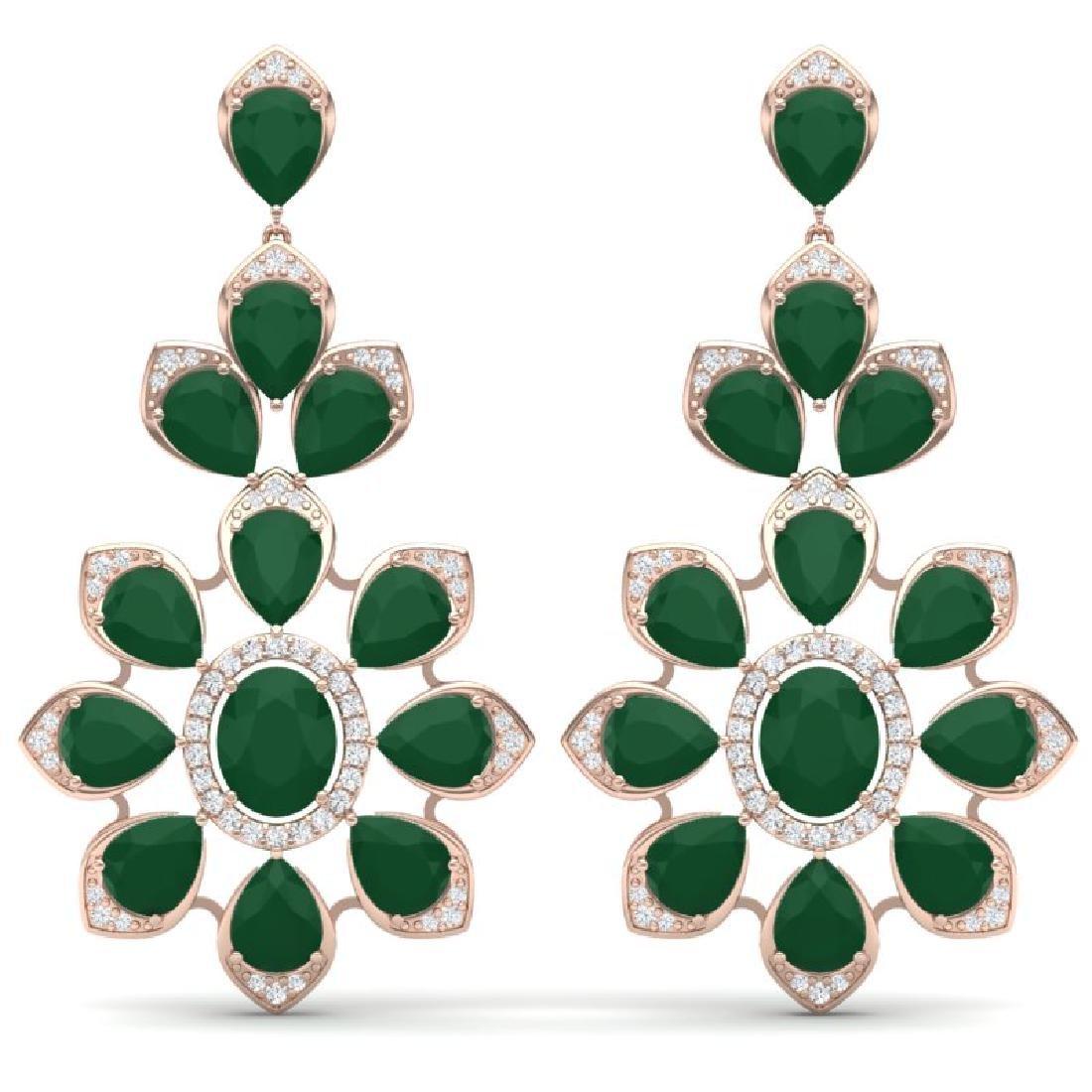 51.8 CTW Royalty Emerald & VS Diamond Earrings 18K Rose
