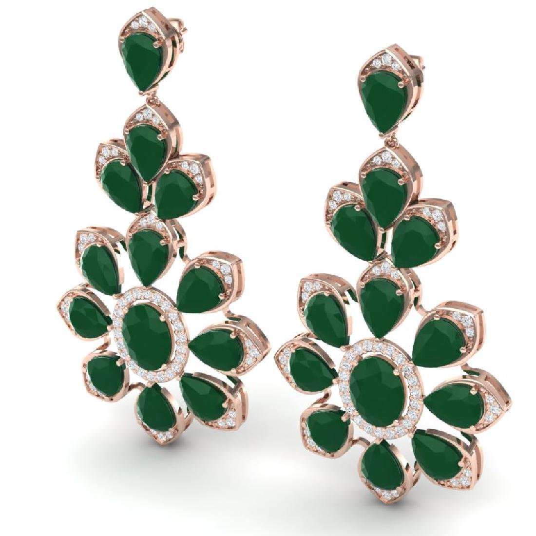 51.8 CTW Royalty Emerald & VS Diamond Earrings 18K Rose - 2