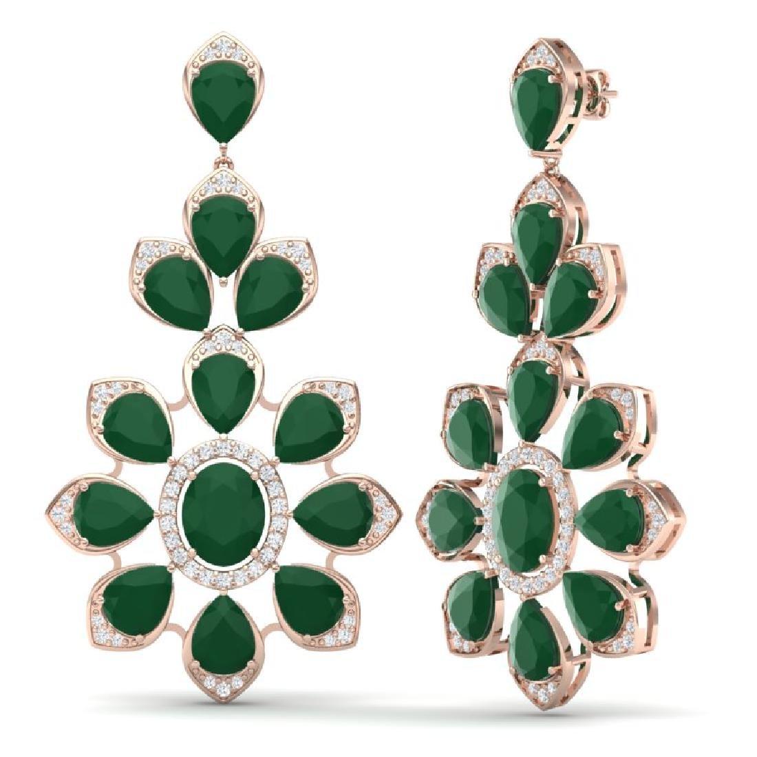 51.8 CTW Royalty Emerald & VS Diamond Earrings 18K Rose - 3