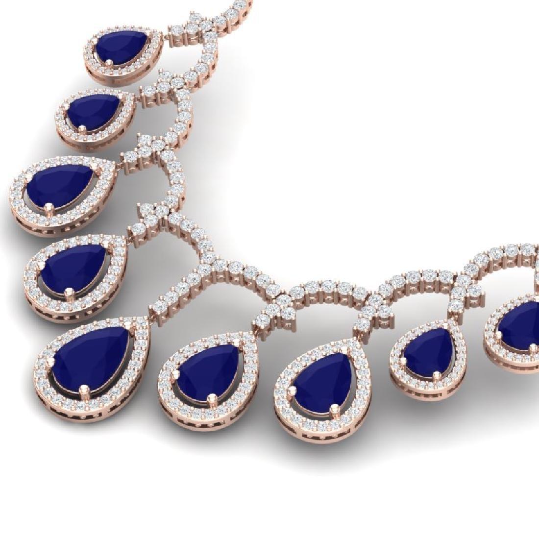 31.5 CTW Royalty Sapphire & VS Diamond Necklace 18K - 2