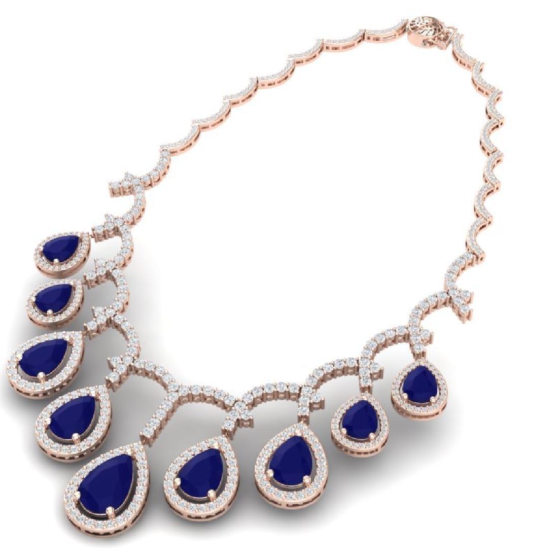 31.5 CTW Royalty Sapphire & VS Diamond Necklace 18K - 3