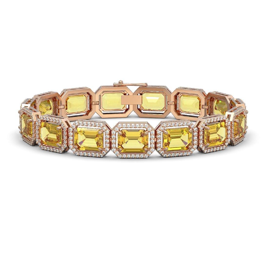 34.91 CTW Fancy Citrine & Diamond Halo Bracelet 10K