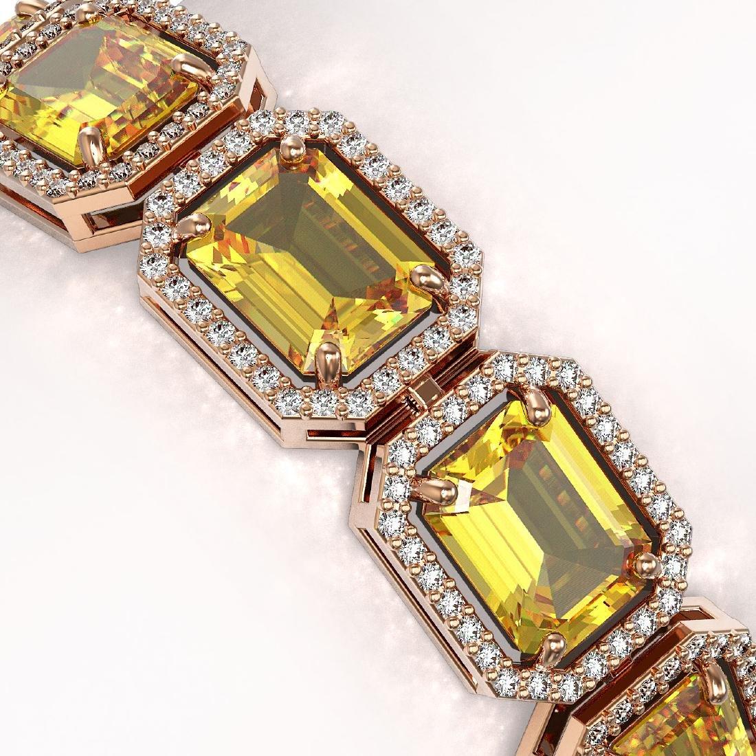34.91 CTW Fancy Citrine & Diamond Halo Bracelet 10K - 3
