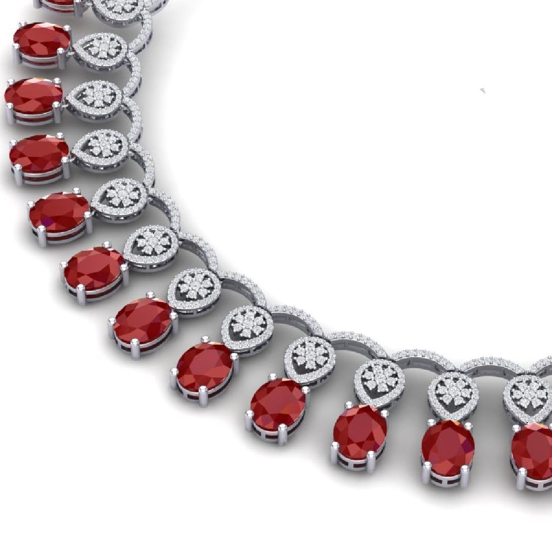 54.05 CTW Royalty Ruby & VS Diamond Necklace 18K White - 2