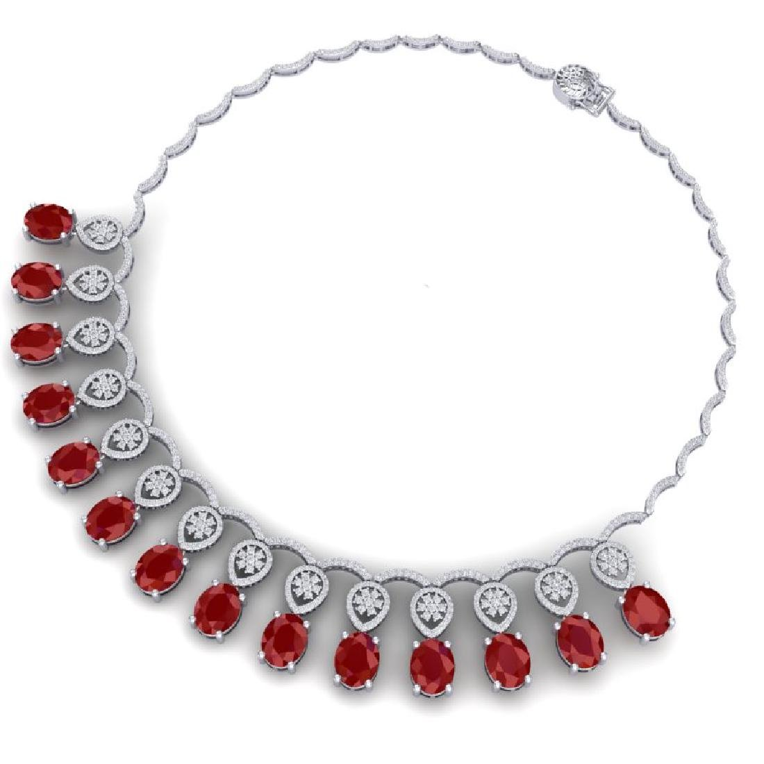 54.05 CTW Royalty Ruby & VS Diamond Necklace 18K White - 3