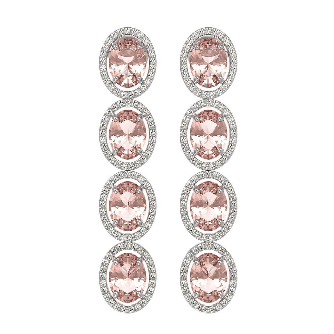 11.4 CTW Morganite & Diamond Halo Earrings 10K White