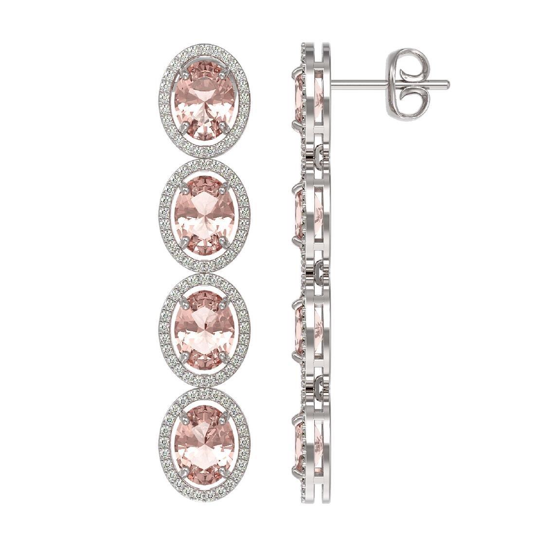 11.4 CTW Morganite & Diamond Halo Earrings 10K White - 2