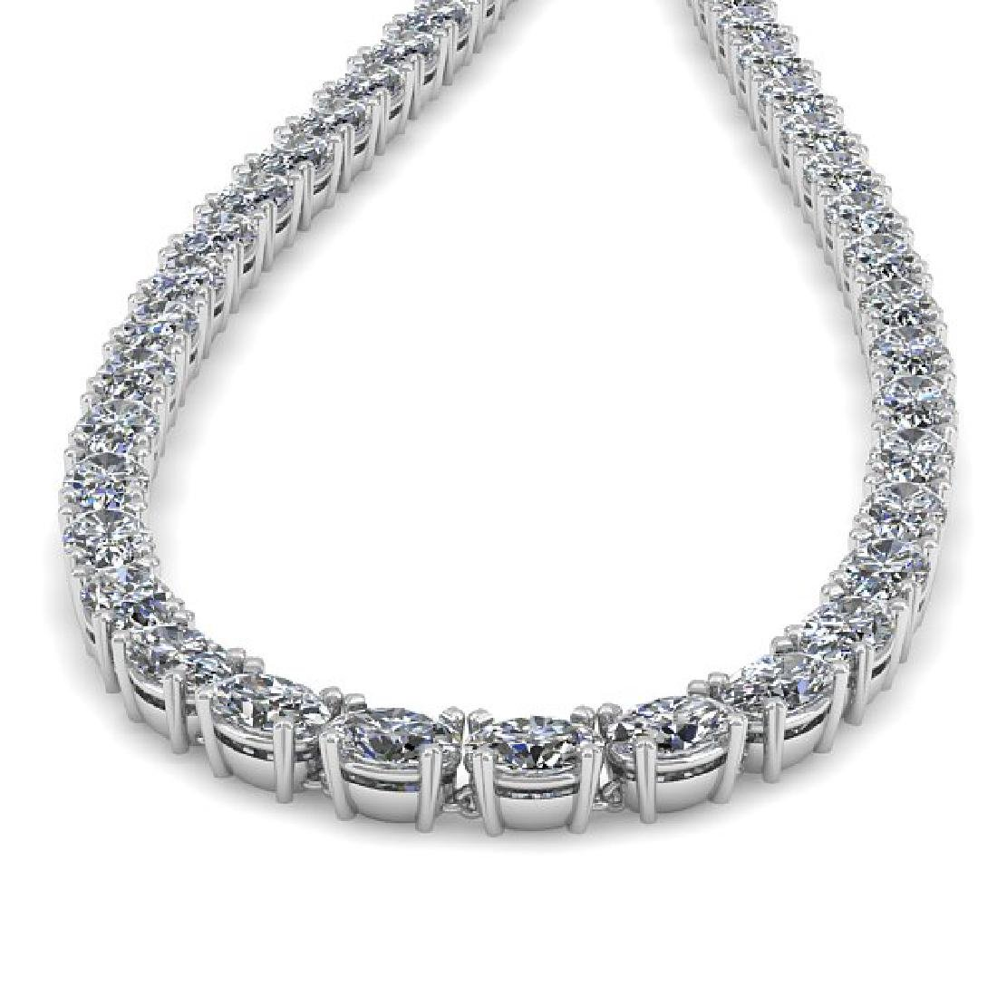 35 CTW Oval Cut Certified SI Diamond Necklace 14K White - 2