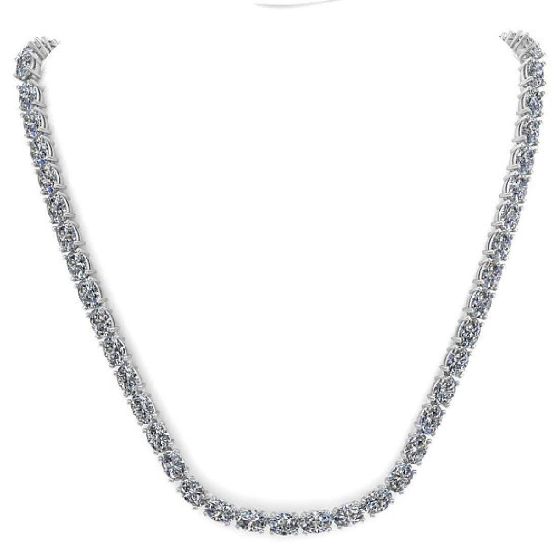 35 CTW Oval Cut Certified SI Diamond Necklace 14K White - 3