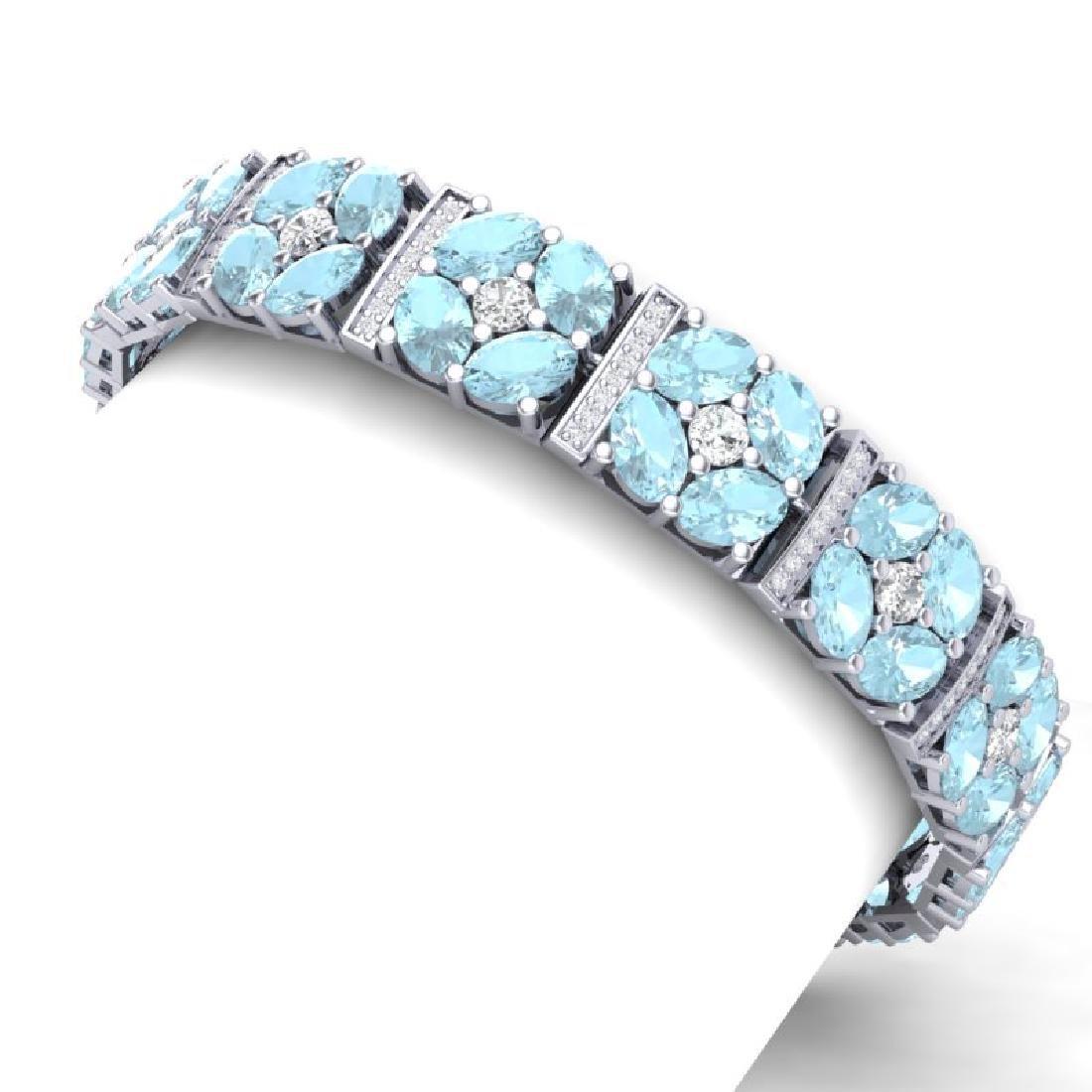 32.39 CTW Royalty Sky Topaz & VS Diamond Bracelet 18K - 2