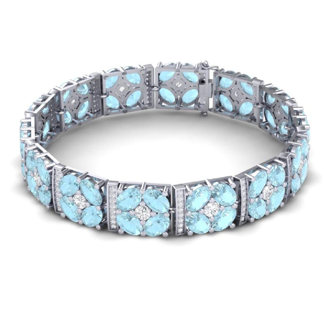 32.39 CTW Royalty Sky Topaz & VS Diamond Bracelet 18K - 3