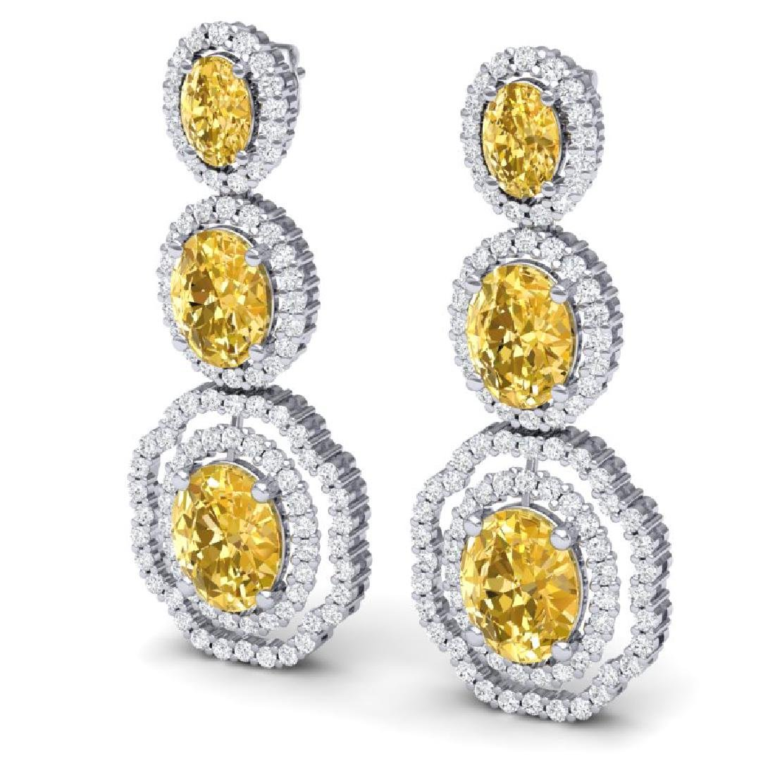 15.65 CTW Royalty Canary Citrine & VS Diamond Earrings - 2