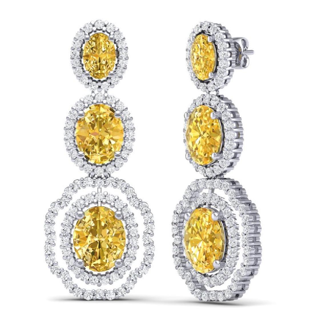 15.65 CTW Royalty Canary Citrine & VS Diamond Earrings - 3