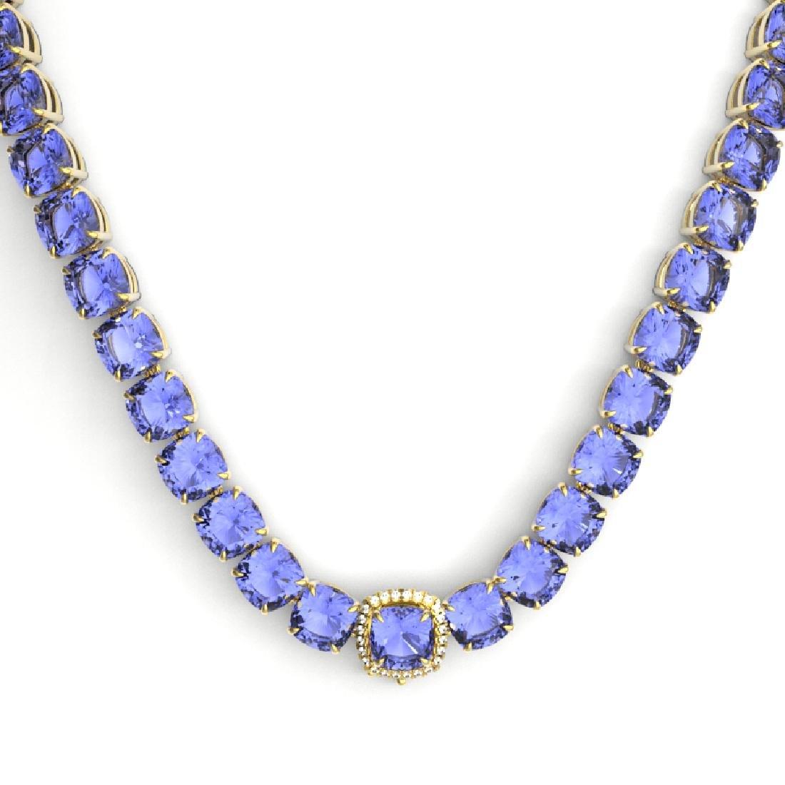 100 CTW Tanzanite & VS/SI Diamond Necklace 14K Yellow - 2