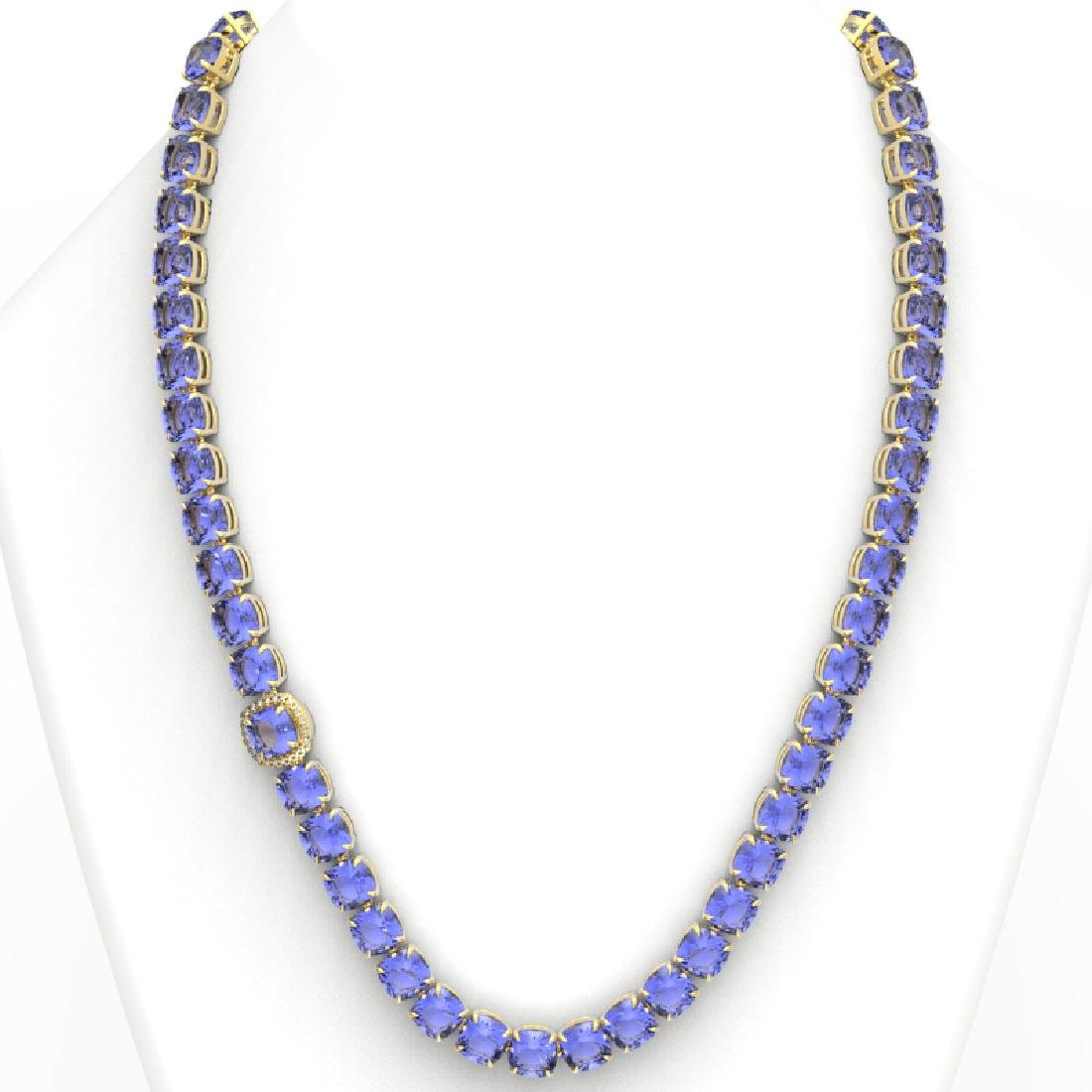 100 CTW Tanzanite & VS/SI Diamond Necklace 14K Yellow - 3