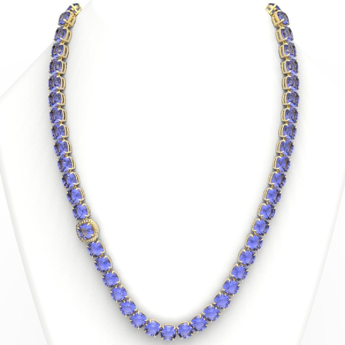 100 CTW Tanzanite & VS/SI Diamond Necklace 14K Yellow - 3