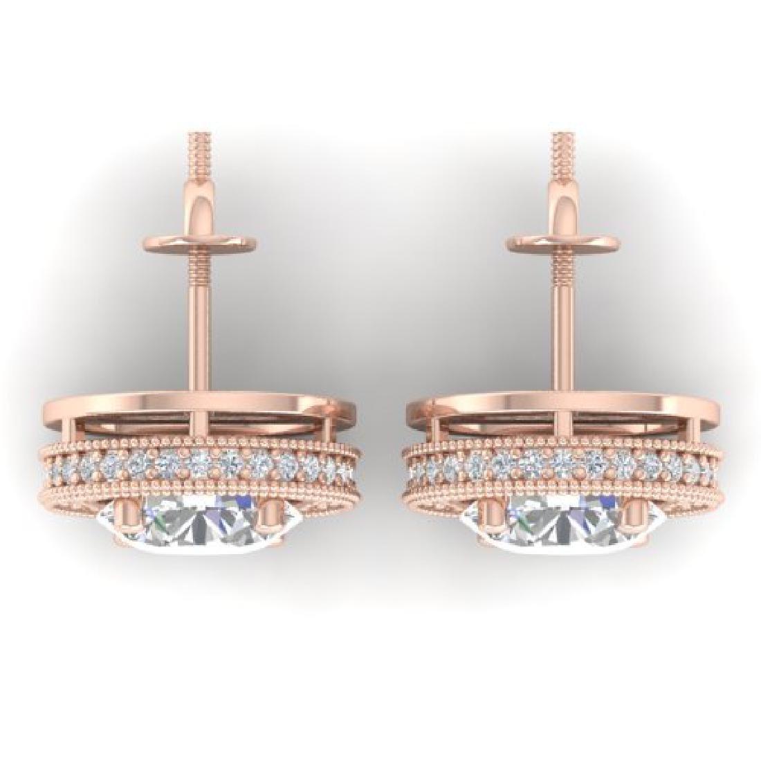 4 CTW Certified VS/SI Diamond Art Deco Stud Earrings - 3