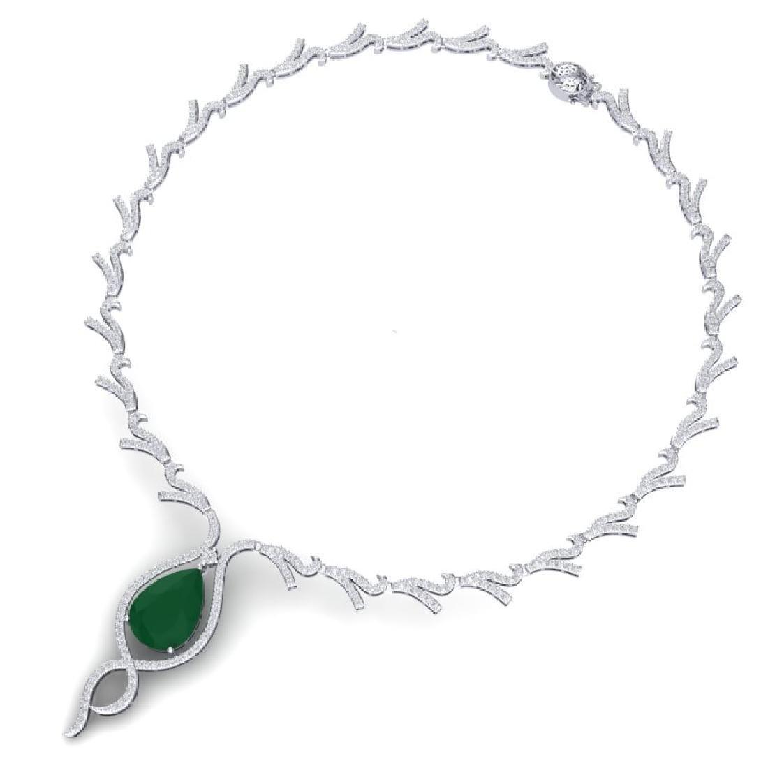 23.43 CTW Royalty Emerald & VS Diamond Necklace 18K - 3