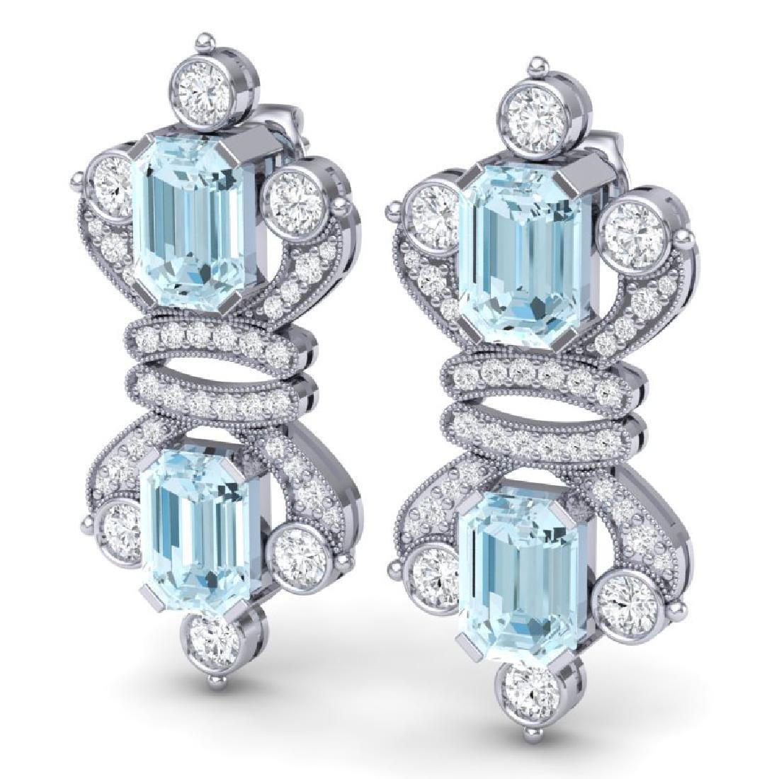 28.39 CTW Royalty Sky Topaz & VS Diamond Earrings 18K - 2