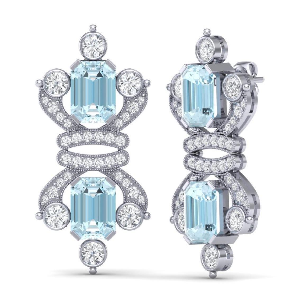 28.39 CTW Royalty Sky Topaz & VS Diamond Earrings 18K - 3