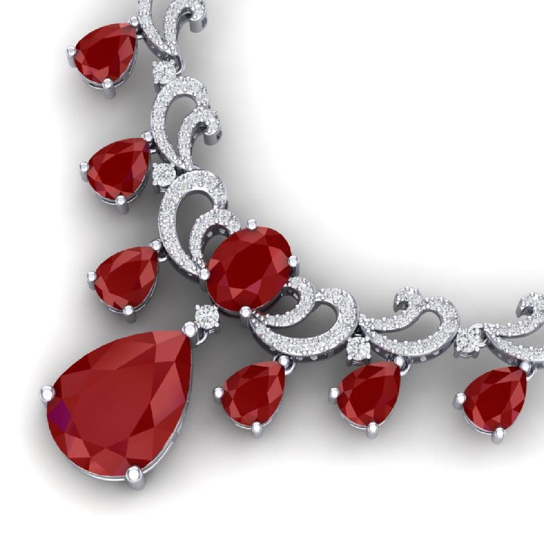 36.85 CTW Royalty Ruby & VS Diamond Necklace 18K White - 2
