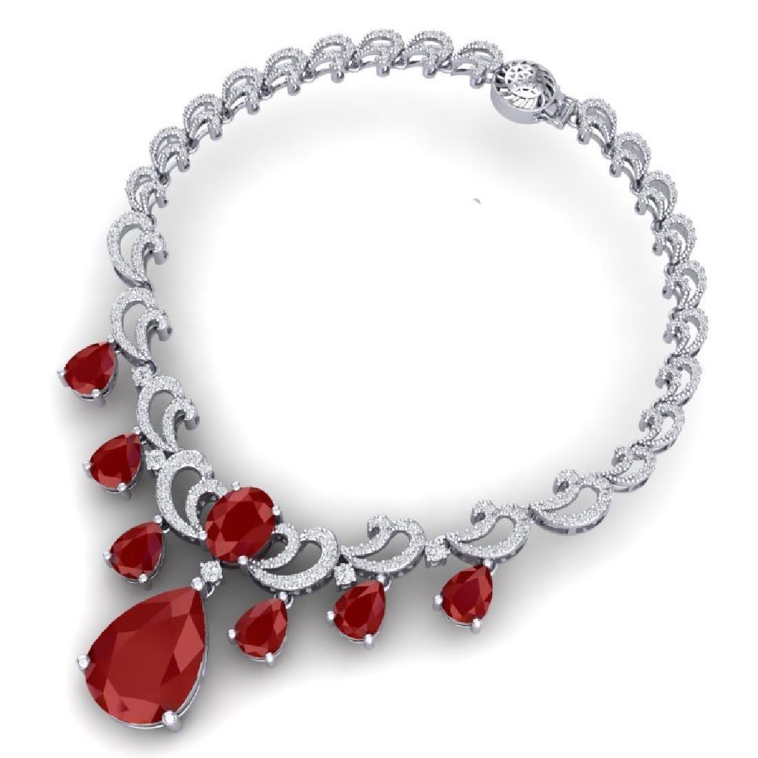 36.85 CTW Royalty Ruby & VS Diamond Necklace 18K White - 3