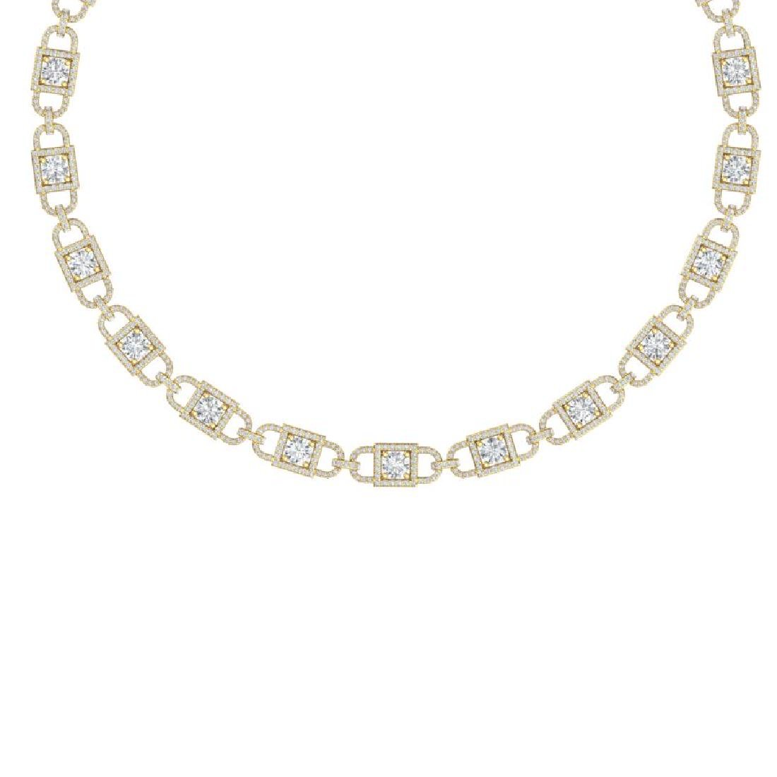 20 CTW Certified SI/I Diamond Halo Necklace 18K Yellow