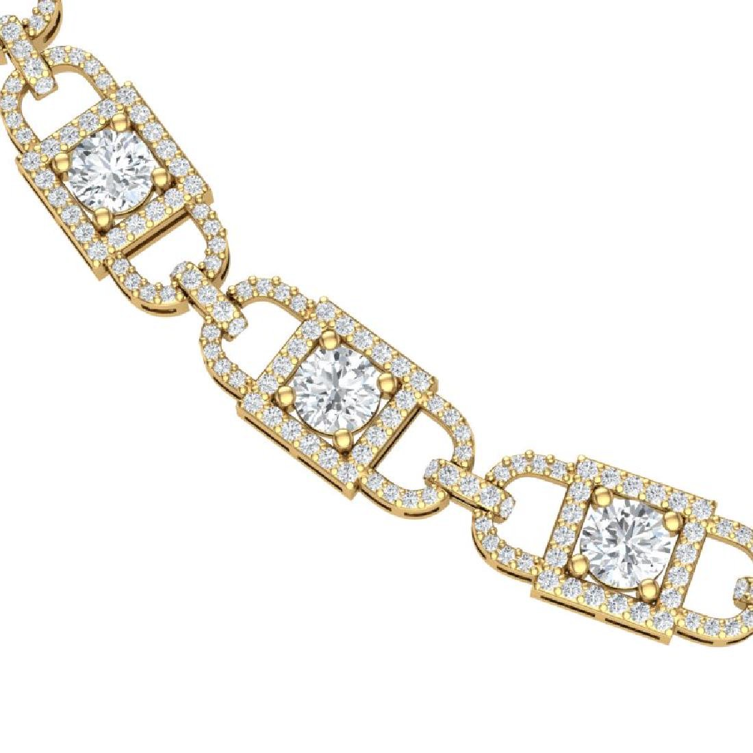 20 CTW Certified SI/I Diamond Halo Necklace 18K Yellow - 2