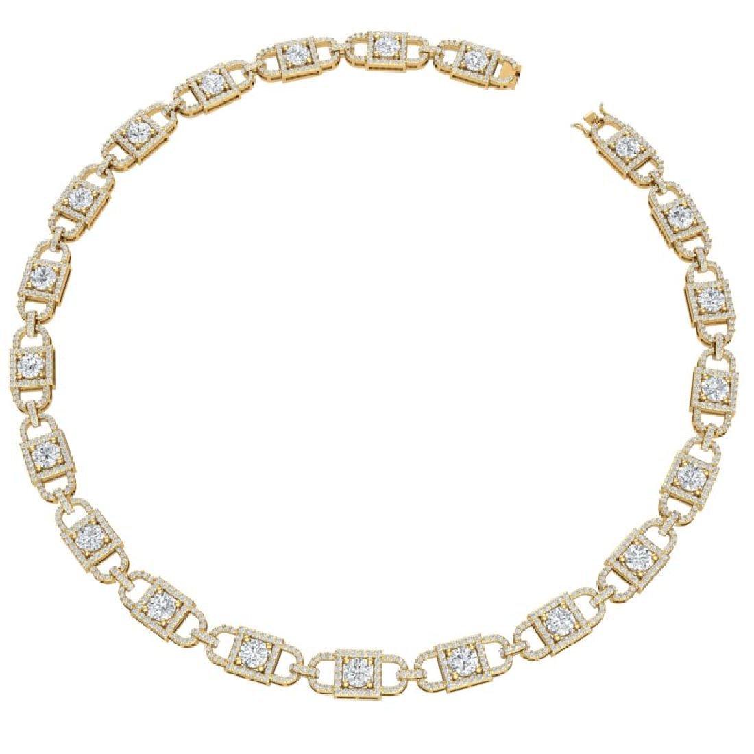 20 CTW Certified SI/I Diamond Halo Necklace 18K Yellow - 3