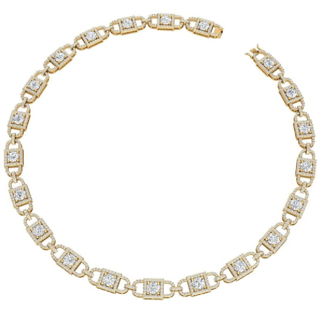 20 CTW Certified SI/I Diamond Halo Necklace 18K Yellow - 3