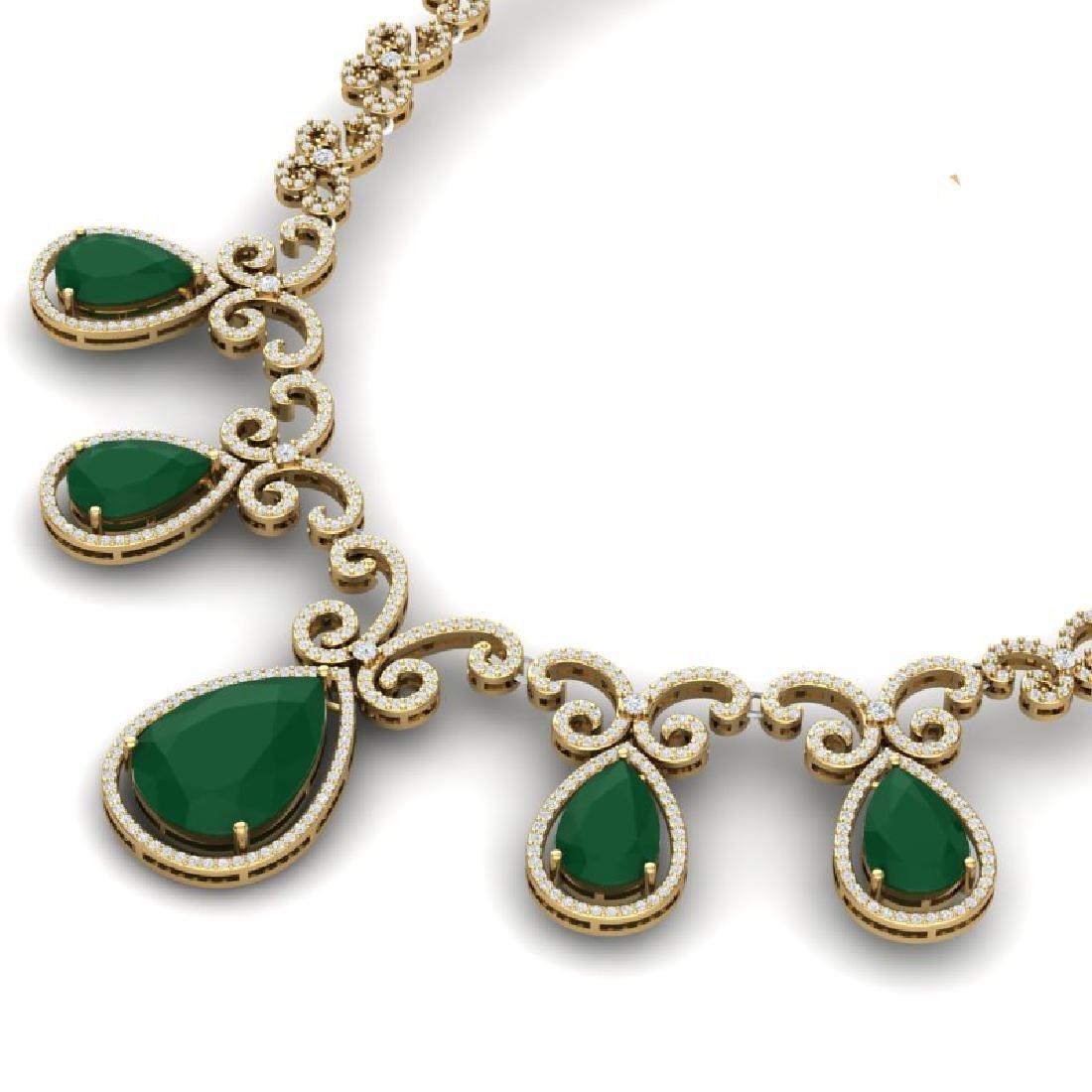 38.42 CTW Royalty Emerald & VS Diamond Necklace 18K - 2