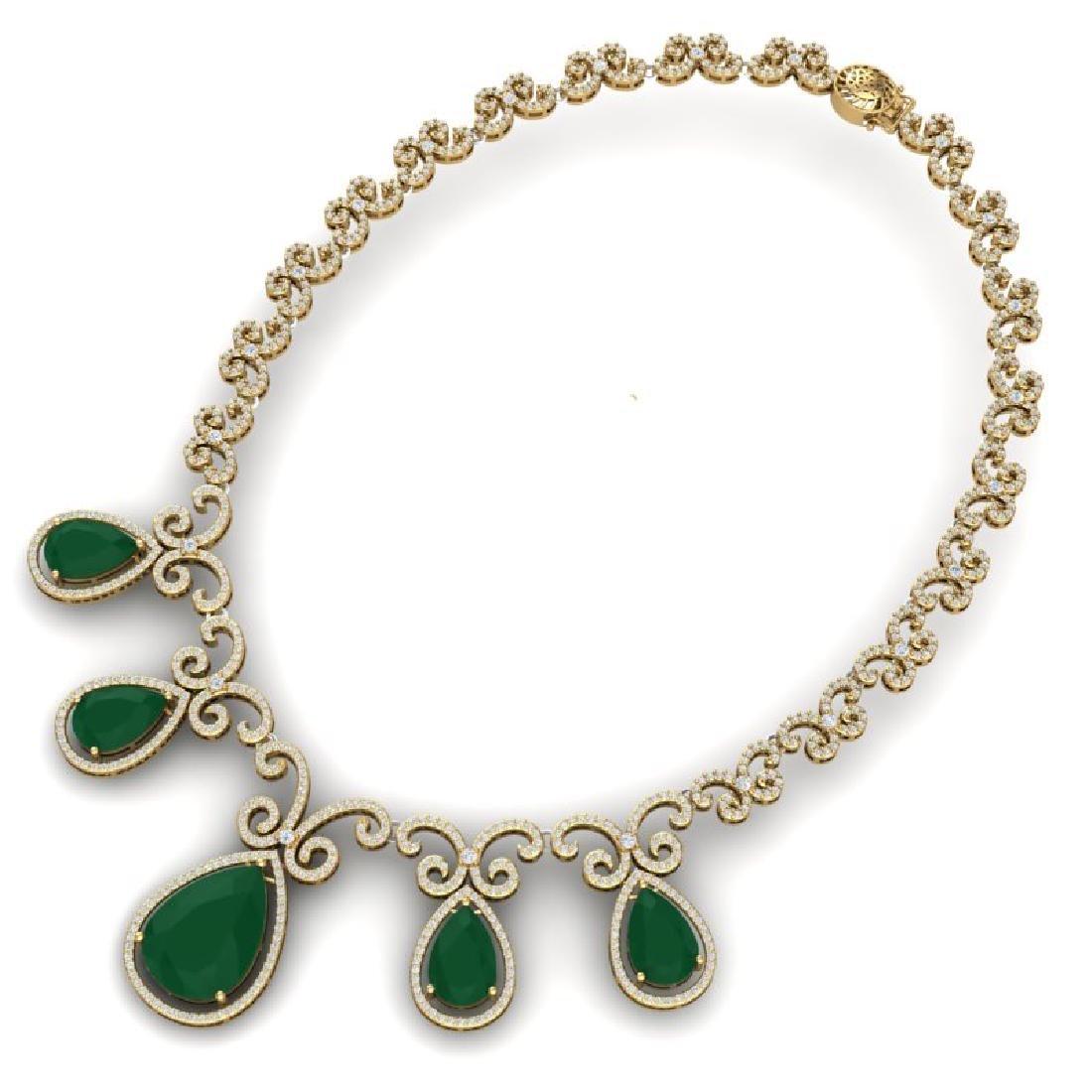 38.42 CTW Royalty Emerald & VS Diamond Necklace 18K - 3
