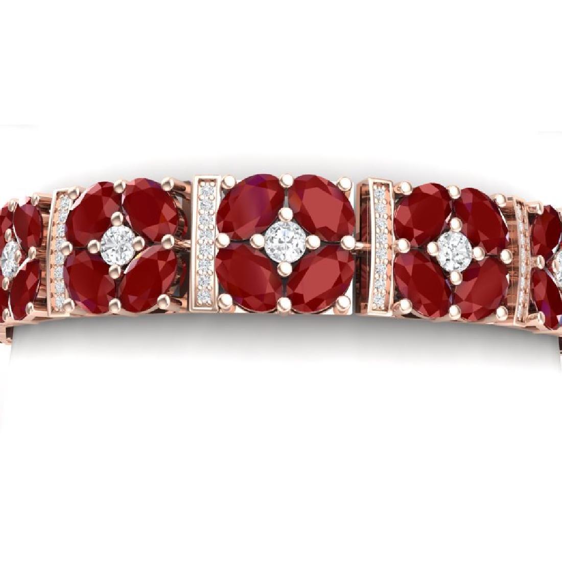 48.04 CTW Royalty Ruby & VS Diamond Bracelet 18K Rose