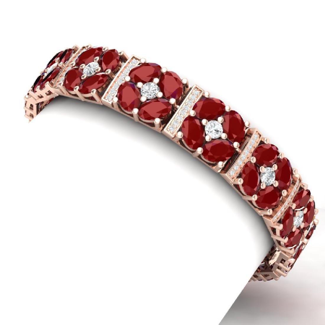 48.04 CTW Royalty Ruby & VS Diamond Bracelet 18K Rose - 2