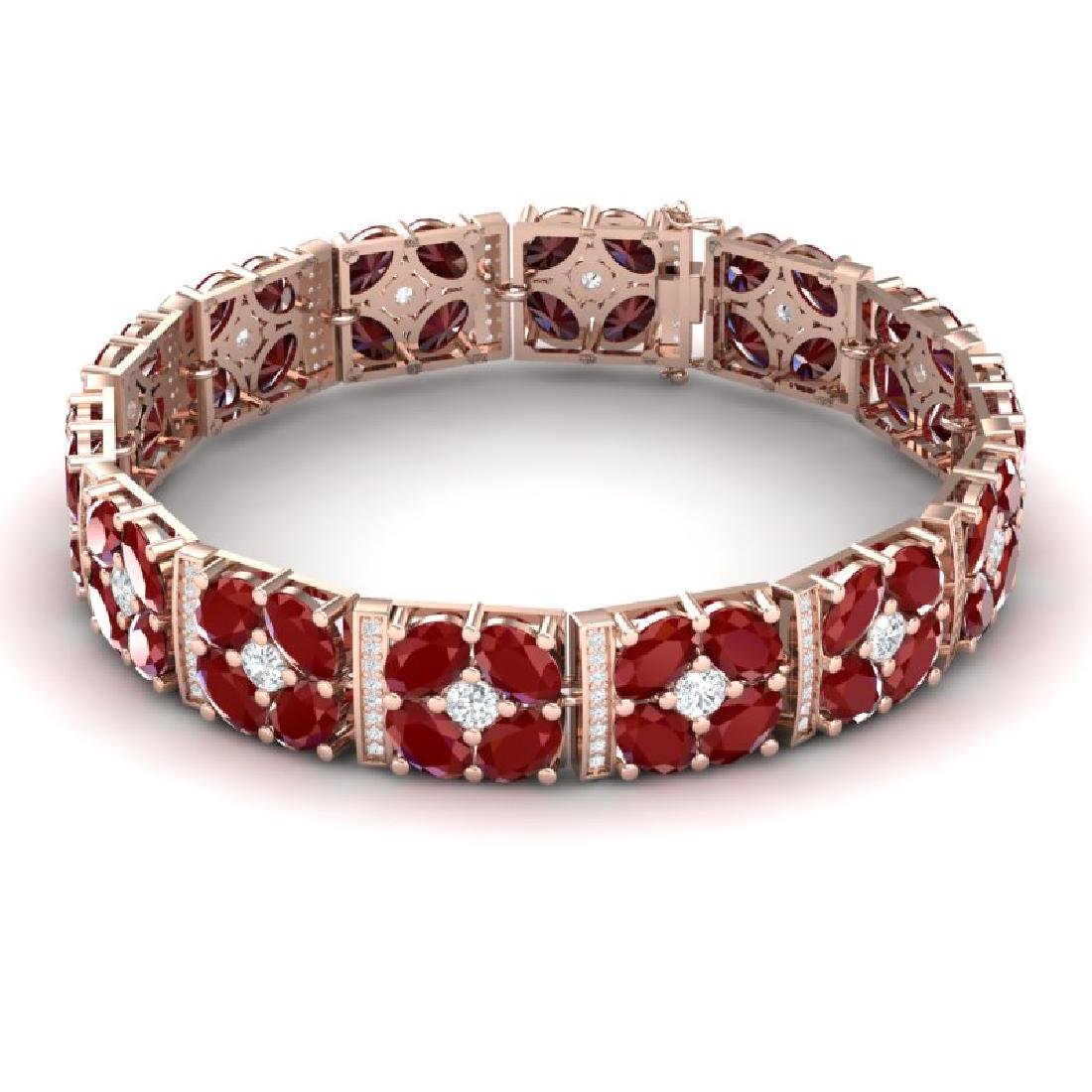 48.04 CTW Royalty Ruby & VS Diamond Bracelet 18K Rose - 3