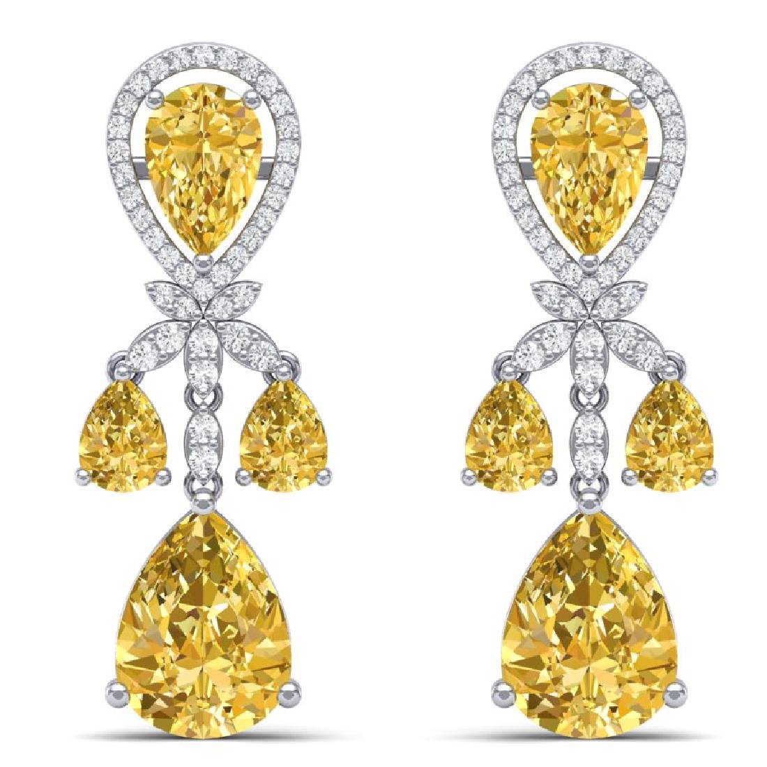 35.67 CTW Royalty Canary Citrine & VS Diamond Earrings