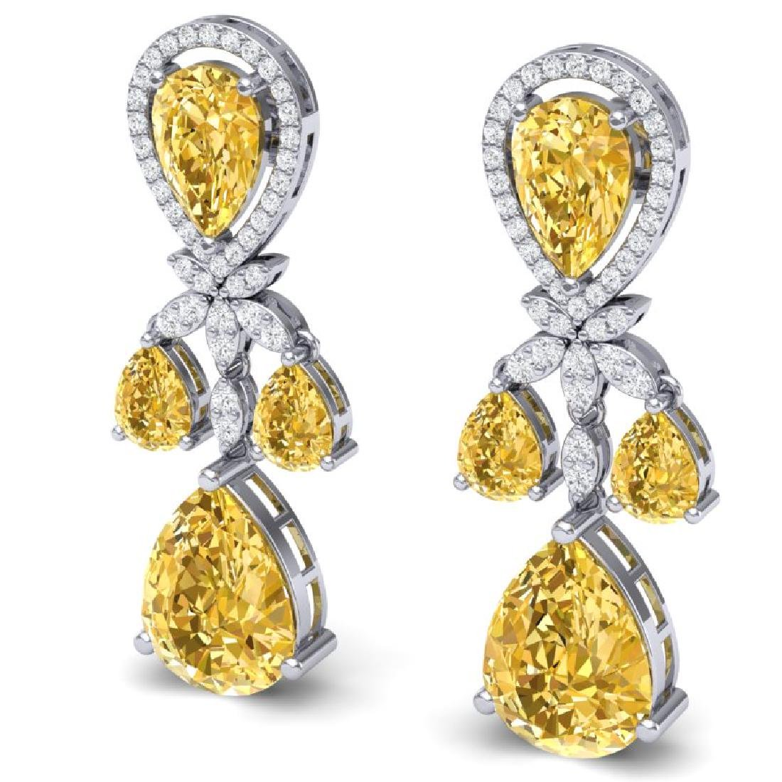 35.67 CTW Royalty Canary Citrine & VS Diamond Earrings - 2
