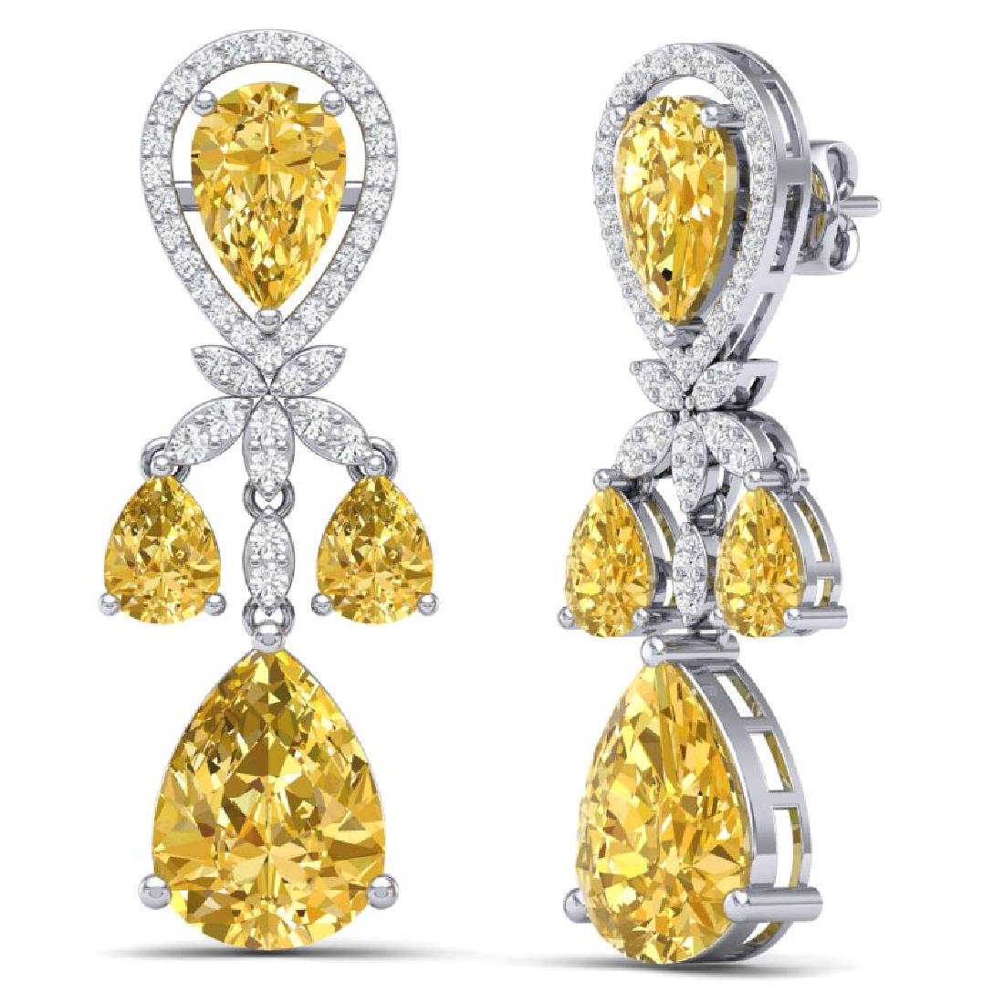 35.67 CTW Royalty Canary Citrine & VS Diamond Earrings - 3