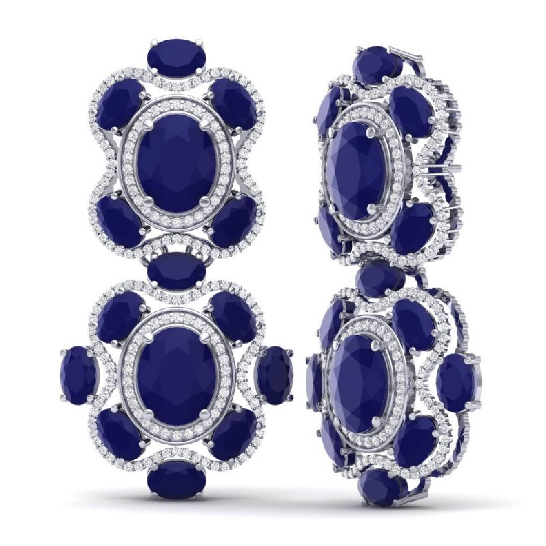 33.5 CTW Royalty Sapphire & VS Diamond Earrings 18K - 3