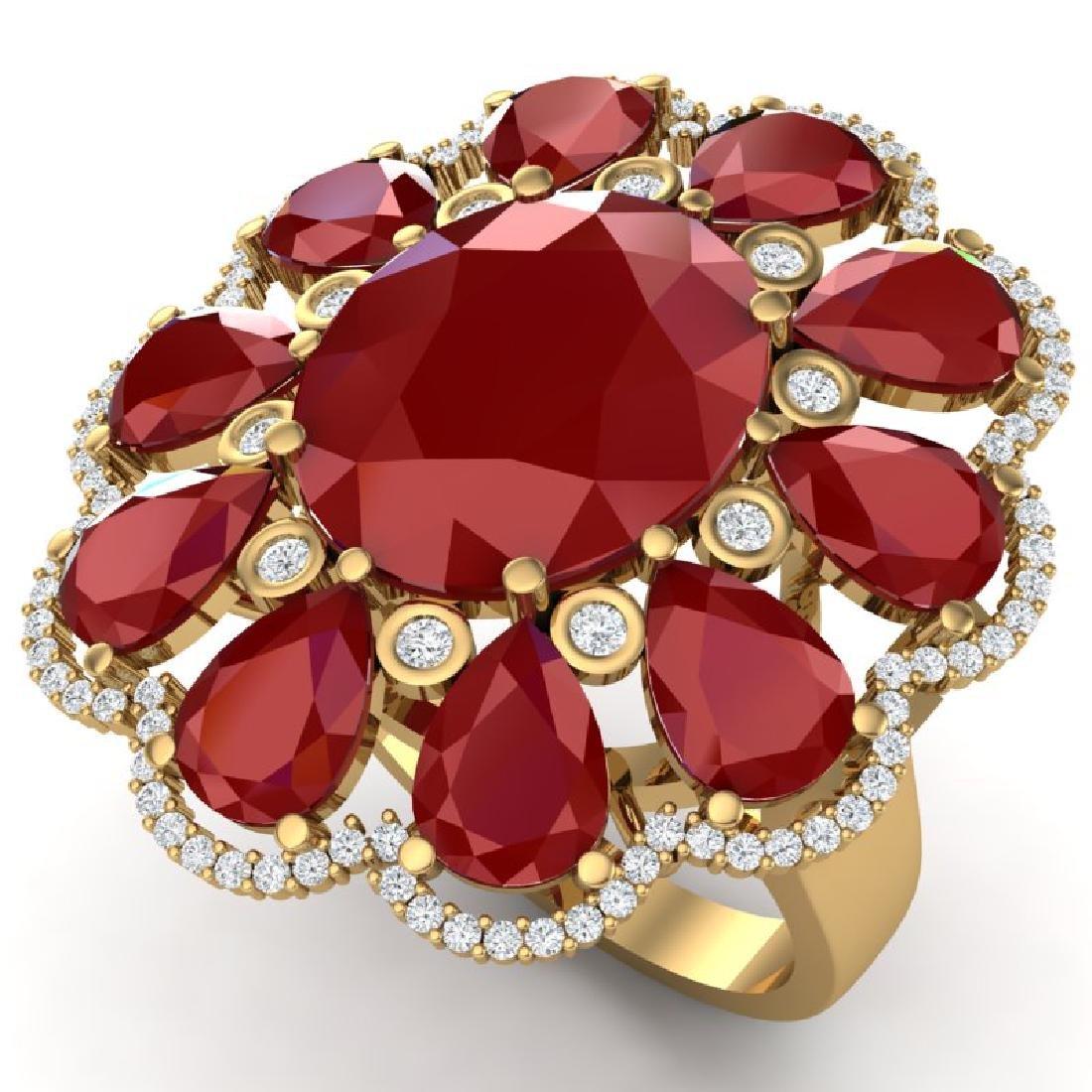 20.63 CTW Royalty Designer Ruby & VS Diamond Ring 18K