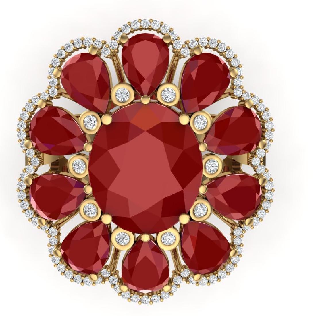 20.63 CTW Royalty Designer Ruby & VS Diamond Ring 18K - 2