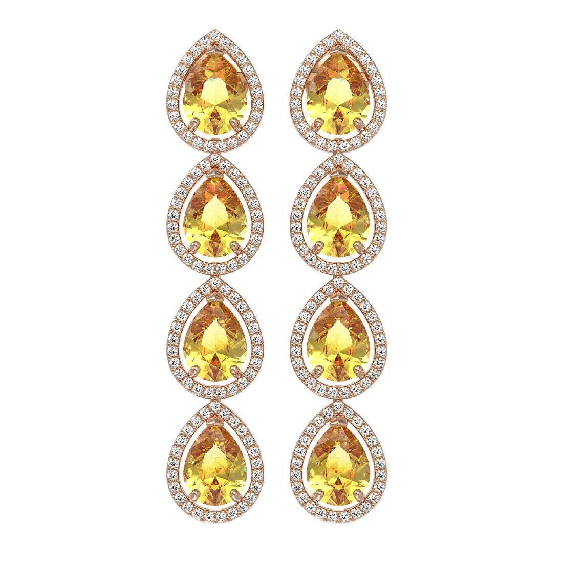 9.2 CTW Fancy Citrine & Diamond Halo Earrings 10K Rose