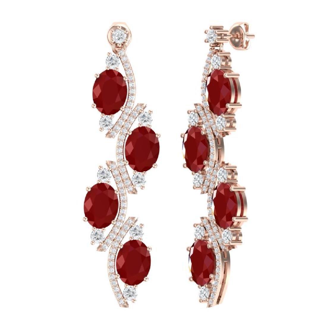 16.12 CTW Royalty Designer Ruby & VS Diamond Earrings - 3