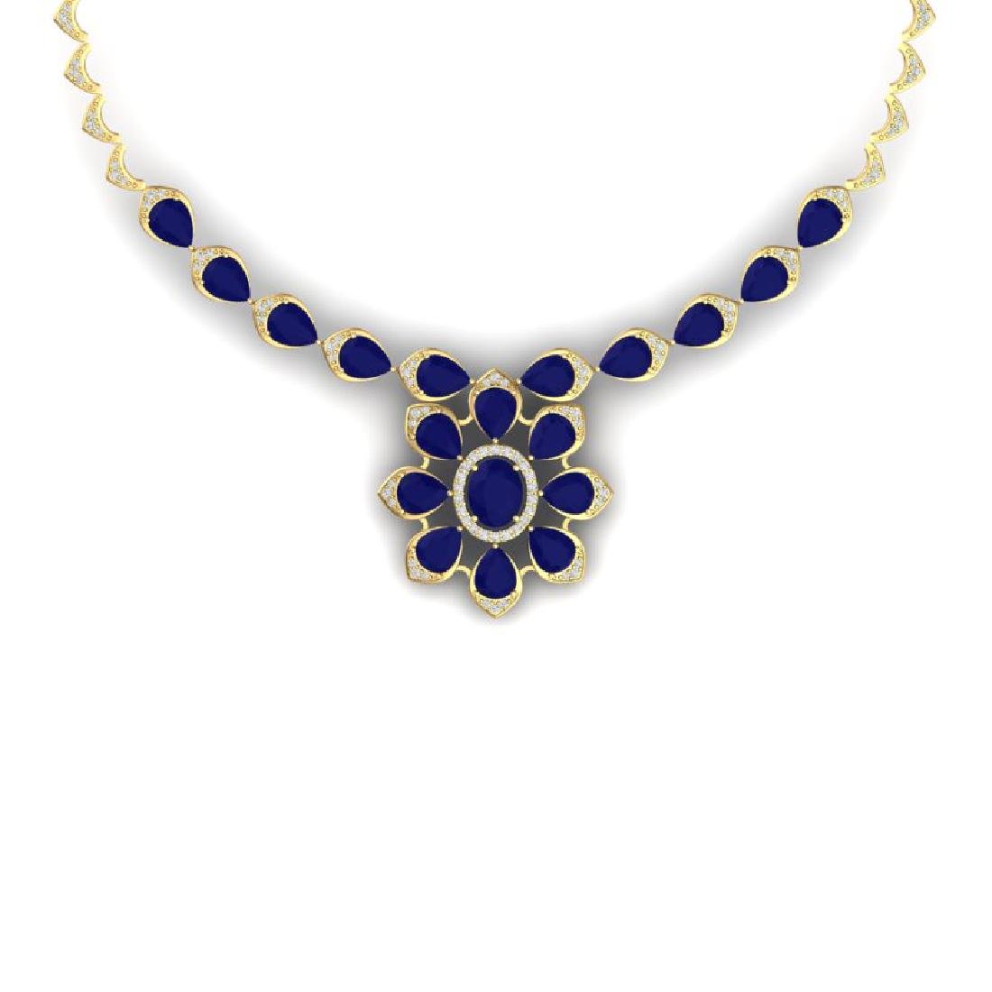 30.70 CTW Royalty Sapphire & VS Diamond Necklace 18K